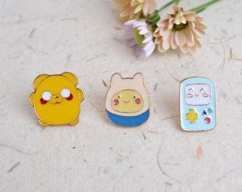 3 Piece Adventure Time Pins, Adventure Time Badges, Jake Pin, Finn Pin, Beemo Pin