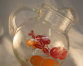 Vintage Anchor Hocking Tilt Ball Pitcher with Tomatoes and Oranges
