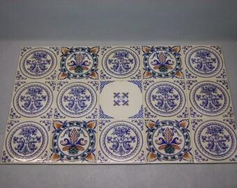 Gien / Faience tiles set / fish/Patchwork decorations.