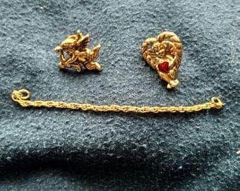Vintage Cupid/Angel Duo Pin/Eyeglass Holder Set