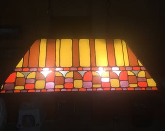 Vintage pool table lights etsy stained glass vintage pool table light greentooth Gallery