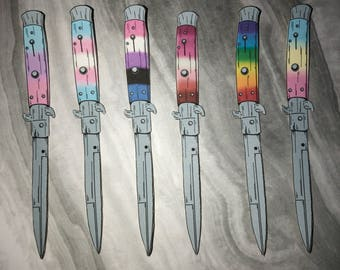 LGBT Pride Flag Knife Stickers (3pcs or 6pcs)