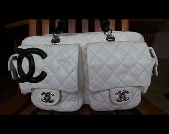 Chanel white quilted bag