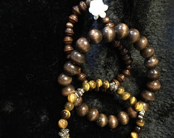 Tigers eye and wood