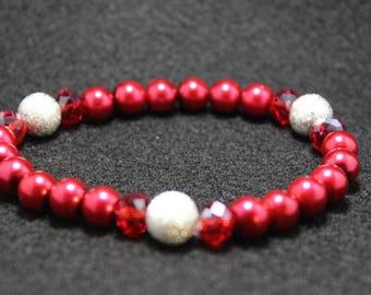 Red Crystal Beaded Bracelet