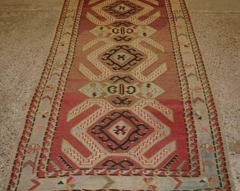 Old Caucasian Kilim Rug, Classic Lenkoran Village Design, Soft Faded Colours, Circa 1920.