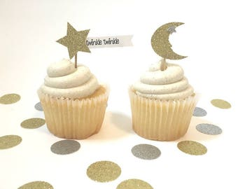 Baby Shower - Cupcake Toppers - Twinkle Twinkle - Star and Moon - Baby Girl Shower - Baby Boy Shower
