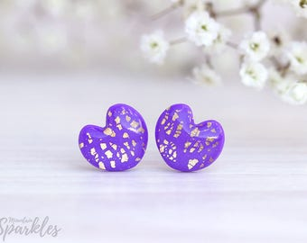 Violet Gold heart stud earrings, Ultra Violet stud earrings, Simple Stud Earrings, Purple earrings minimalist, 2018 trends, Lilac Gift
