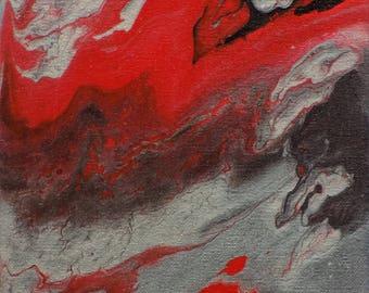 Original Acrylic Fluid Painting On Fire