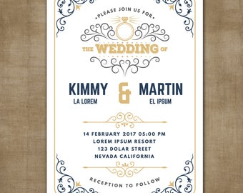 Wedding Invitation, Wedding Invitation with Matching RSVP and Other Information Card,  Contemporary Wedding Invitation, Modern Wedding Inv