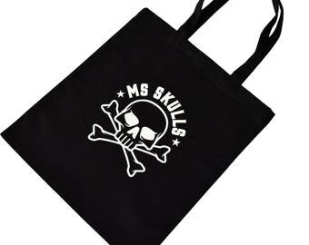 Reusable Cloth Tote Bag with MS Skulls Graphic