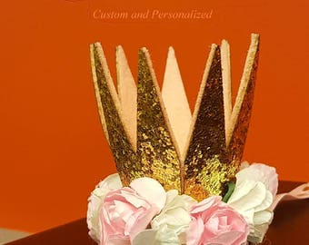 """1st Birthday Little Crown is 2.5"""" tall Gold Crown on Headband that says One. Adorable for 1st Birthday! Crown with White and  Pink Flowers"""
