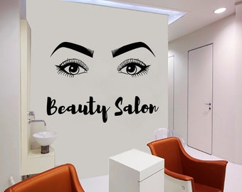 Wall Decal Window Sticker Beauty Salon Woman Face Eyelashes Lashes Eyebrows Brows t49