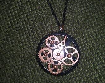 Steampunk clock gear pendant necklace