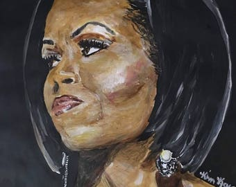 Lady Michelle Obama 8x10 Wood Panel