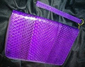 Purple Snakeskin leather clutch by BEIRN