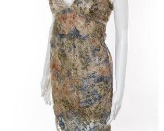UNGARO. PARIS. Multicolored Metallic Floral Lace Print Dress Sz M