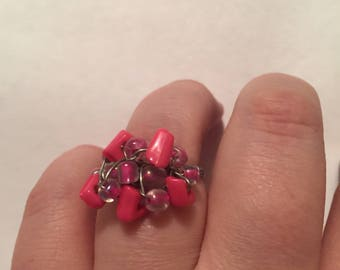 Pink cluster wire wrapped ring