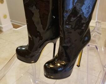 Authentic Yves Saint Laurent patent leather boots