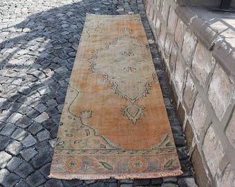 Runner area rug, faded color rug, Free Shipping 2.9 x 9.4 ft. turkish rug, handknotted rug, wool rug, decorative rug, runner rug, MB285