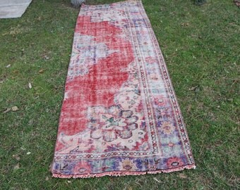 3 x 9 ft. Turkish wool rug Free Shipping runner size pale color turkish rug, handknotted rug, runner rug, bohemian rug, oushak rug MB415