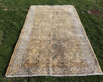Orange turkish rug, 4.7 x 8.2 ft. Free Shipping turkish rug for kitchen design, flowered rug, oushak rug, bohemian rug, nomadic rug, MB581