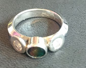 Silver Ring with Synthetic Stones