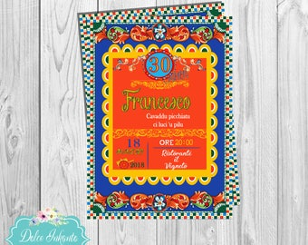 Sicily birthday invite,-printable digital File, Sicily, birthday invitation