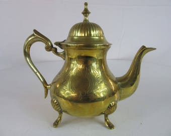 Vintage Etched Brass Footed Teapot with Hinged Lid - Retro Kitchen