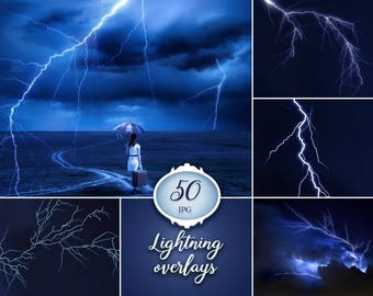 50 Lightning overlays, photoshop overlay, storm, thunder, lightning bolt, photography, lightning strike, digital download, clip art, photo