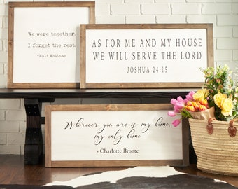Farmhouse Wood Bible Scripture Verse Sign - As For Me and My House (Joshua 24:15); Fixer Upper Magnolia Market Style