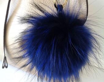 Pelzbommel bag pendant carabiner made of genuine fur Finnraccoon luxury new