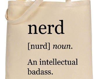 Nerd: an Intellectual Badass canvas tote bag