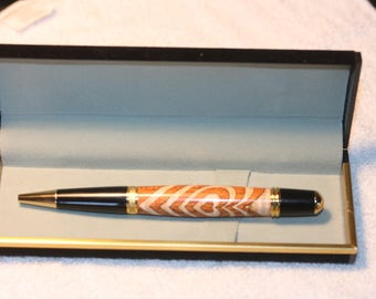 Newly Handcrafted Segmented Heart Inlay Design Pen with a Black Velour Case