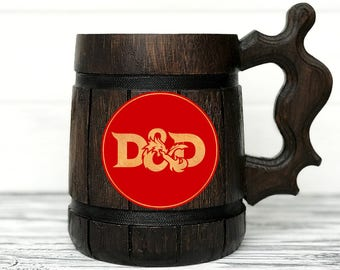 D&D Mug. Dungeon and Dragons Mug. Dungeon and Dragons Gift. Wood Stein Custom Beer Steins Wooden Beer Tankard Personalized Gifts for Men #86