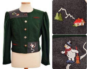 Bavarian Trachten JACKET by M&K / womens size D 44, US 16, GB 18 / hunting green / West Germany / snowman and cottage embroidery