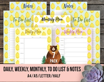 2018 PRINTABLE PLANNER Summer Lemon Planner Set Daily Planner Weekly Monthly To Do List Notes Notepad Organizer Schedule Agenda Desk Planner