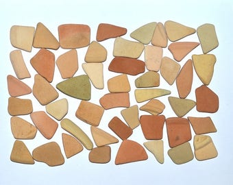 Bulk Sea Pottery, 50 Pieces, Beach Pottery Shards, Greek Terracotta, Mosaic Supplies, Craft Supplies, Fairy Garden Decor