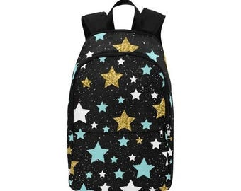 Gold Blue White Star Fabric Backpack