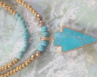 Genuine Turquoise Pendant Multi Strand Necklace