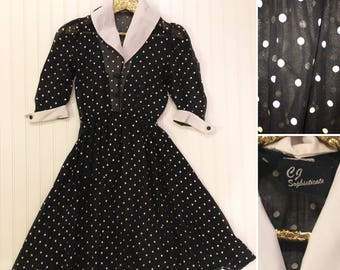 1970's Vintage Polka Dot Party Dress - Shear