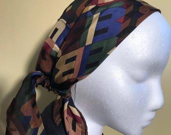Vintage Bill Blass Silk B Initial Scarf