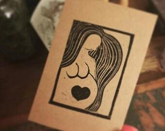 "Lino print card ""Love Inside"" A6"