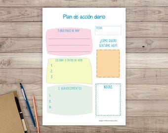 Printable daily Planner. Daily print Planner. Cheerful daily Organizer. Agenda printable Objectives