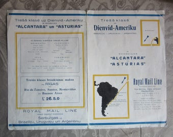 shipping company ROYAL MAIL LINE to South America advertising Latvia edit.  1930ies