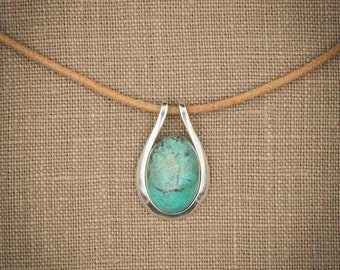 Spectacular Turquoise Oval Cabochon Pendant in Contemporary Sterling Silver Setting With or Without 2.2mm Sterling Silver Chain.
