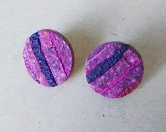 Round earrings from polymeric clay Earrings Jewelry Earring-nails Colour Dot Ear Studs Geometric earrings Modern earrings Geometric jewelry