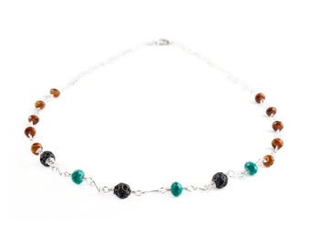 Turquoise and Amber Colored Glass with Lava Stone  Beaded Necklace Jewelry Wire Wrapped With Silver Wire Handmade