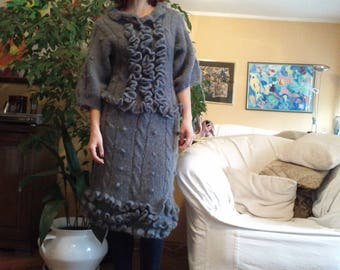 Handmade, mohair, gray dress