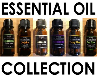 Essential Oils Set of 6 Peppermint,Jojoba,Jasmine,Patchouli,Ylang Ylang,Teatree Great Gift